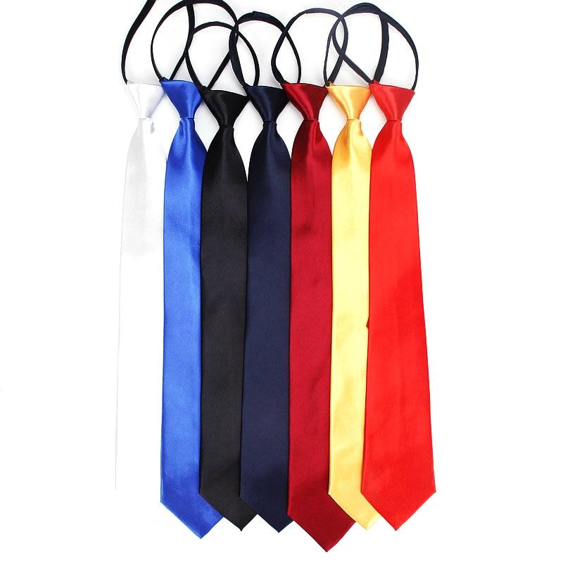 Pre-tied Shiny Students Zipper Ties For Women Boys Girls Slim Narrow Men Necktie Solid Red Black Navy Blue 8cm Necktie