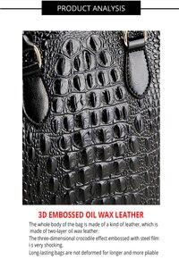 Image 4 - Vrouw echt lederen handtas modieuze krokodil patroon echte lederen schoudertas klassieke tote crossbody bag LongLight