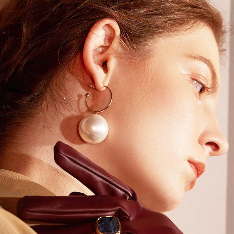 Big Simulated Pearl Long Earrings Geometric Metal Statement Drop Earrings For Women Wedding Party Gift Korean Wholesale Jewelry