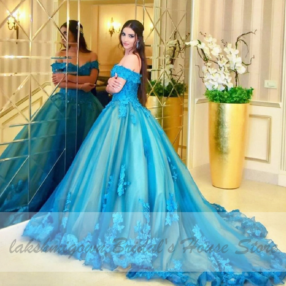 wedding princess blue gown