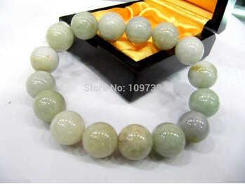 送料無料>>>>> 90978 最高の自然な中国のグレードアクア翡翠ジェダイト 12 ミリメートルビーズブレスレット