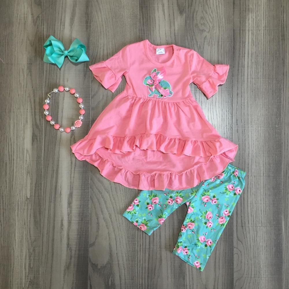 spring cotton bunny baby Easter silk milk outfit girls SUMMER capris clothes coral floral boutique RUFFLE matching AccessoriesClothing Sets   -