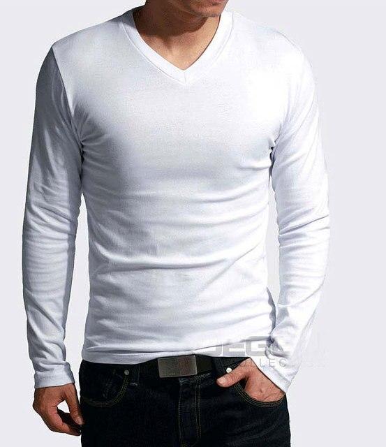 Elastic Mens T-Shirt V-Neck Long Sleeve Men T Shirt For Male Lycra And Cotton T-Shirts Man Clothing TShirt 29