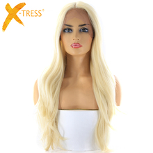 Ombre Blonde 613 Color Synthetic Hair Lace Front Wigs Middle Part X-TRESS 28inch Long Natural Wave Trendy Wig For Black Women natural lace front wigs for black women synthetic hair middle part wig pink straight hair style