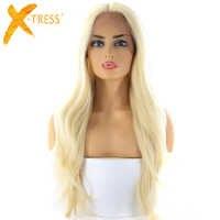Ombre Blonde couleur cheveux synthétiques avant de lacet perruques moyen partie X-TRESS 28 pouces longue vague naturelle à la mode perruque de dentelle pour les femmes noires