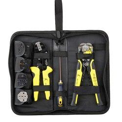 Multitool profissional 4 em 1 fio crimpers engenharia ratcheting terminal de friso alicates fio stripper ferramentas conjunto mão ferramentas