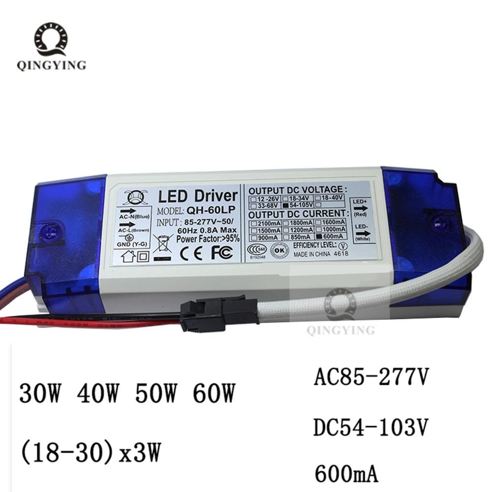 1 шт. 10, 40 Вт, 50 Вт, 60 Вт 600mA светодиодный драйвер постоянного тока 18-30x3W DC54-105V трансформаторы систем освещения для прожектора Питание