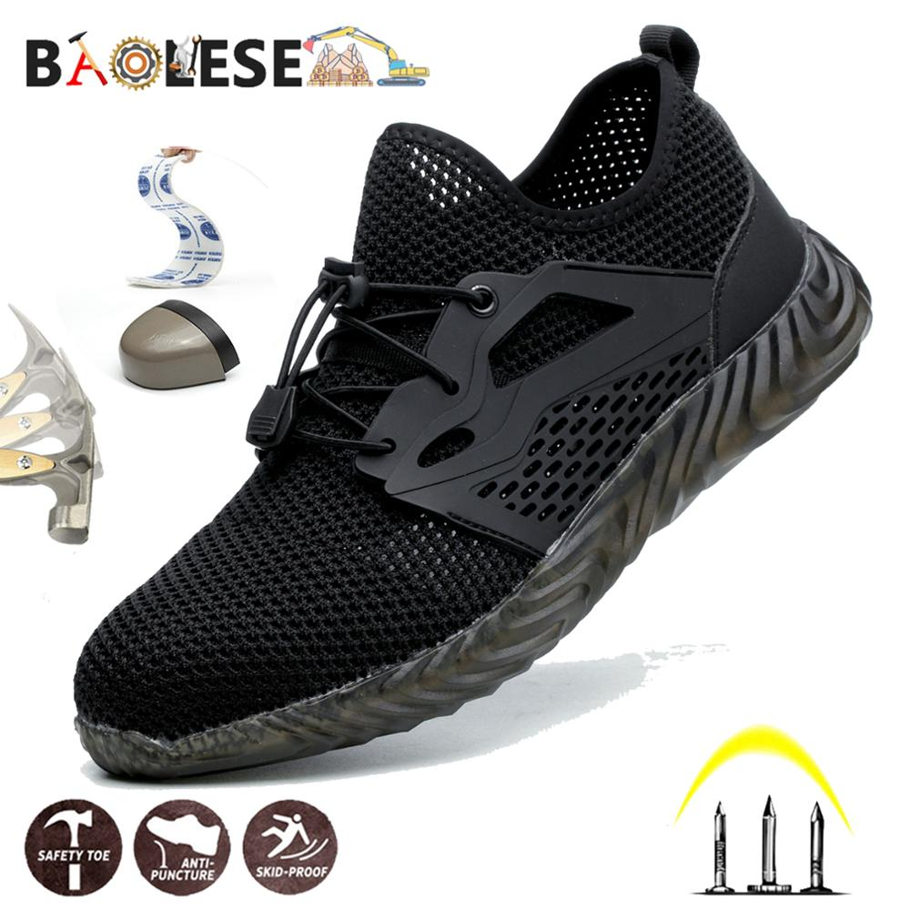 BAOLESEM Men Safety Shoes Man Safety Work Shoes Steel Cap Anti-smashing Spring Breathable Work Shoes Popular Man Work Sneakers