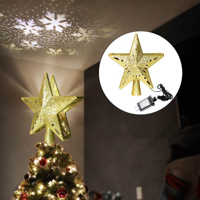 LED Christmas Tree Top Light Star Shape Snowflake Projector Christmas Tree Ornament Pentagram Night Light Lights Night Lamp