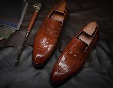 Luxury Designer Genuine Leather Formal Dress Men's Shoes Pointed Toe Slip On Alligator Pattern Wedding Shoes