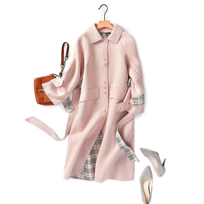 Shuchan Pink Wool Blend Coat Women Adjustable Waist Single Breasted Wide-waisted Office Lady Coats And Jackets Women