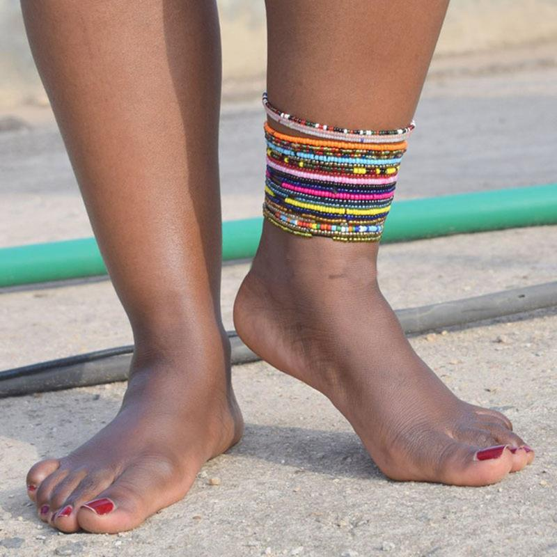 1PCS Women Girls Anklet Creative Dual-use Beach Anklet Beaded Bracelet Ankle Bracelet Summer Sexy Ankle Bohemia Jewelry