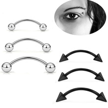 5pcs/lot 16G Surgical Steel 3mm Ball Eyebrow Piercing Curved Barbell Lip Ring Snug Daith Helix Rook Earring Free Shipping