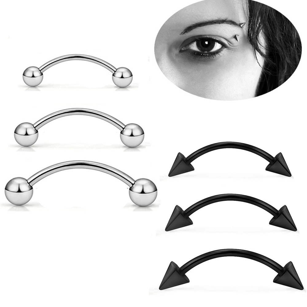 Wholesale Eyebrow Piercing 5Pcs/lot 16G Surgical Steel Ball Eyebrow Curved Barbell Lip Ring Daith Helix Earring Body Jewelry