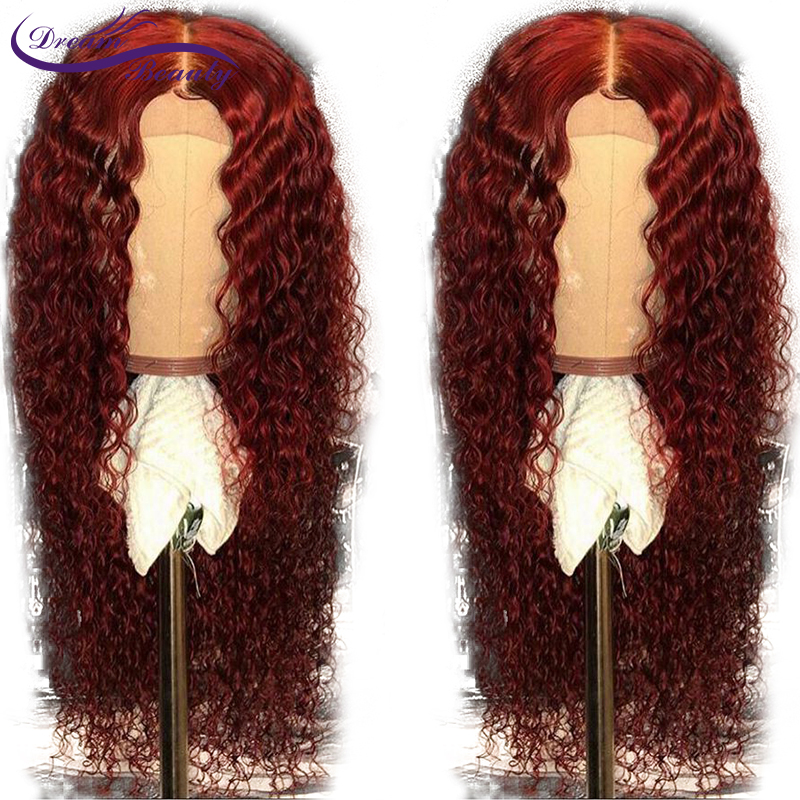 13x6 Lace Front Wig Human Hair Burgundy Colored Human Hair Curly Wigs 99j Ombre Color Brazilian Lace Remy Wig Dream Beauty