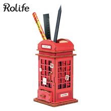 Rolife DIY Phone Booth Model Home Decor Wooden Crafts Box For Children Girls