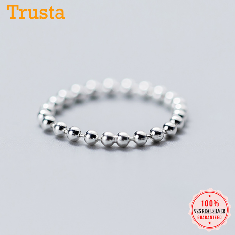 Trustdavis 100% 925 Solid Sterling Silver Smooth Surface Beads Cocktail Ring Size 6 7 8 Women Girls Kids Xmas Gift DA247