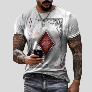 Moda męska Vintage nadruk Poker koszulki z krótkim rękawem 2021 lato nowych mężczyzna ponadgabarytowych O Collared graficzne koszulki ubrania Anime tanie i dobre opinie CASUAL SHORT CN (pochodzenie) POLIESTER Akrylowe summer HIP HOP Z okrągłym kołnierzykiem tops Z KRÓTKIM RĘKAWEM regular