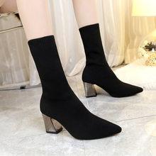 2019 Autumn and Winter Wool Boots, Women's Shoes, Pointed, Thick Heels, Martin Elastic Boots, Knitted Socks Boots.(China)