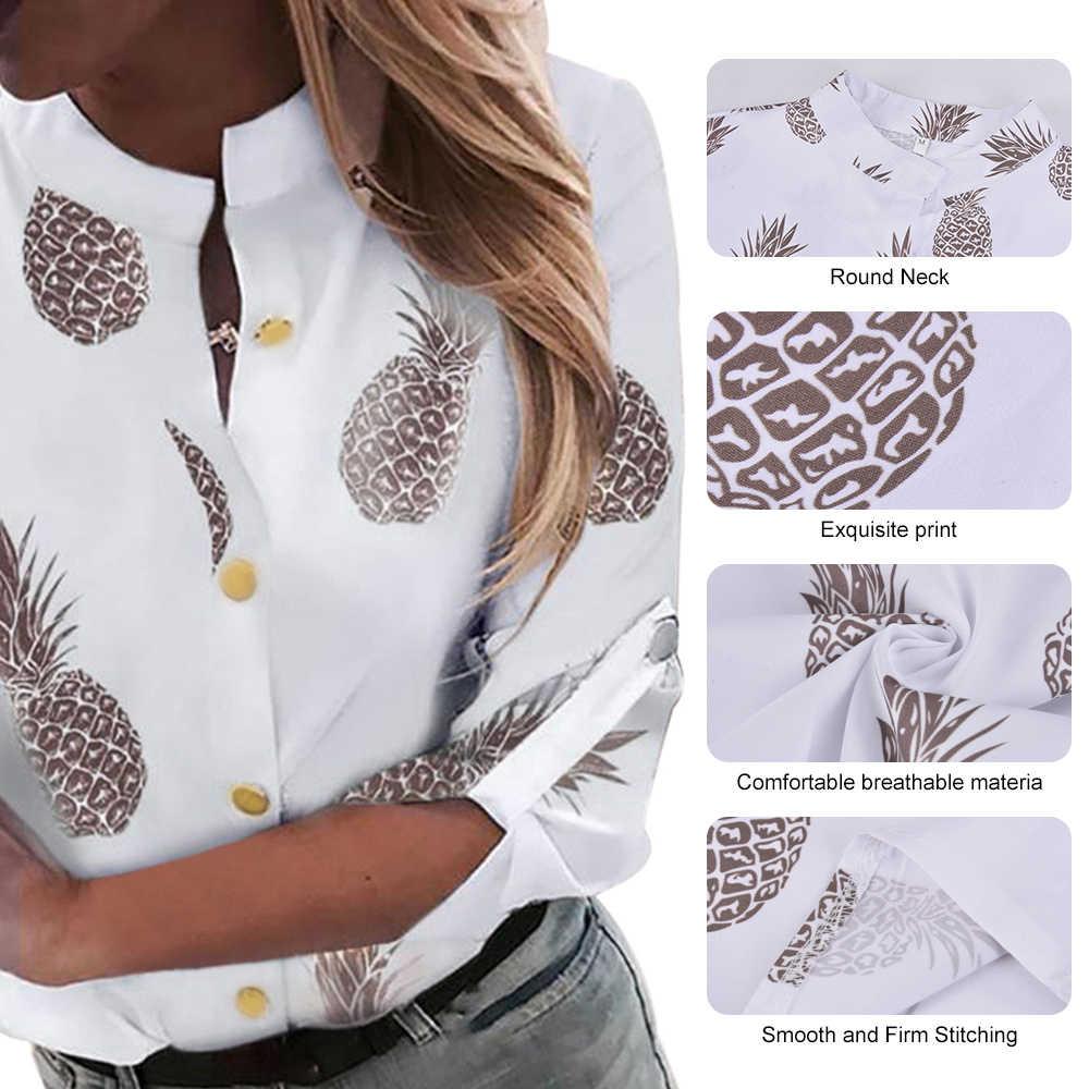 JODIMITTY เสื้อผู้หญิง Ananas สีขาวยาวเสื้อ \ \ \ \ \ \ \ \ \ \ \ \ \ \ \ \ \'s เสื้อ 2019 ผู้หญิงเสื้อและเสื้อด้านบนหญิงฤดูใบไม้ร่วงใหม่ PLUS ขนาด 5XL