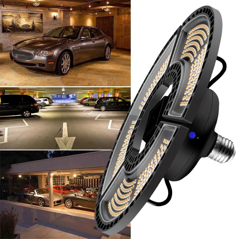 Luz de garaje Deformable LED plegable ventilador hoja bombilla 60W 80W 100W 120W LED lámpara E27 220V LED Bombilla E26 iluminación impermeable 110V 85-265 V, luz infrarroja para interiores y exteriores, Sensor de movimiento, retardo de tiempo, interruptor PIR de iluminación para el hogar, lámpara nocturna sensible Led