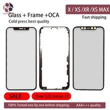 Cristal exterior de pantalla frontal con marco OCA para iPhone X, XS, MAX, XR, XSM, reemplazo de cristal de pantalla con adhesivo, 10 Uds.