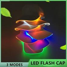 New Fashion LED Light Flash Headlight Baseball Cap Lighted Glow Club Party Black Fabric Traveling Hat Headlamp