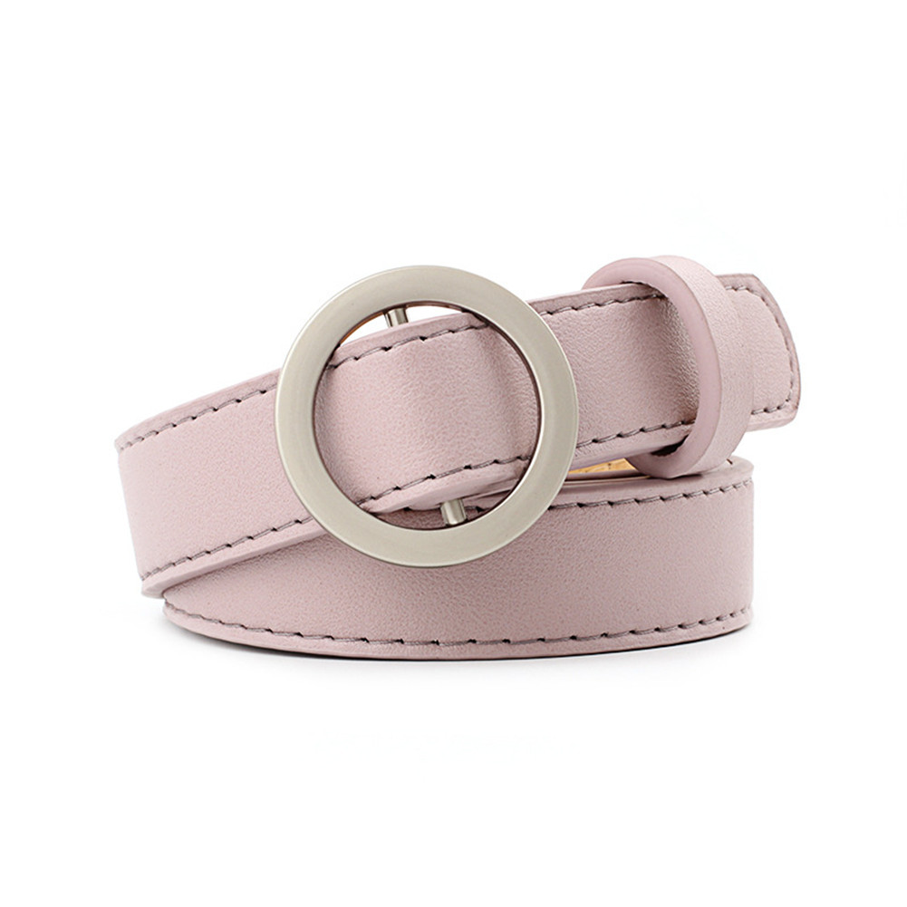 New Women Fashion PU Leather Solid Color Waist Belt Cinturon Mujer Ladies Casual Round Buckle Strap No Holes Waistband