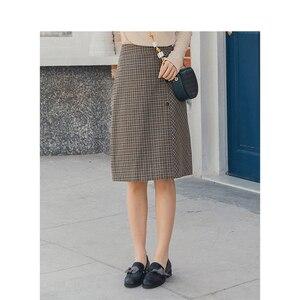 Image 2 - אינמן אביב חדש הגעה נשים של ספרותי רטרו סגנון גבוה מותן משובץ שקופיות יחיד כפתורי נשים הולם אונליין חצאית