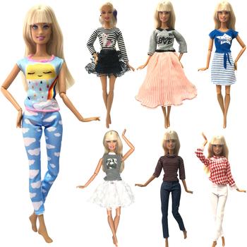 NK 2021 1x sukienka dla lalek moda strój Multicolor koszula spódnica codzienna odzież akcesoria ubrania dla Barbie lalki 05 JJ tanie i dobre opinie NK Fantastic Fairyland 25-36m 4-6y 7-12y 12 + y Tkanina CN (pochodzenie) Doll Clothes Dziewczyny Suit Fit For Barbie Doll