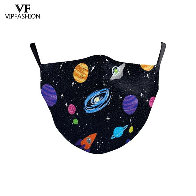 VIP FASHION Reusable Washable Fabric Children Mouth Mask Cute Cartoon Print Face Kid Mask For 3-10 Years old Adjustable 2