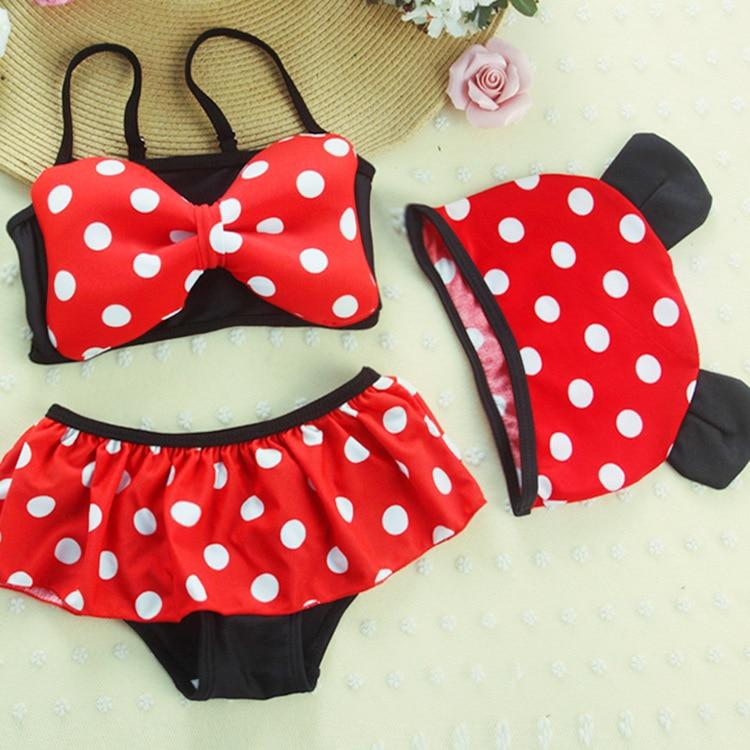 New Style KID'S Swimwear Small CHILDREN'S Girls Baby Cute Minnie Split Type Polka Dot Princess Dress Infant Bikini Swimwear