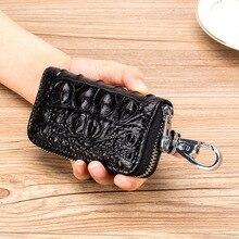Brand Cowhide Key Card Holder High Quality Genuine Leather Crocodile Pattern Key Case Zipper 6 Key Rings Organizer Car Key Bag цена