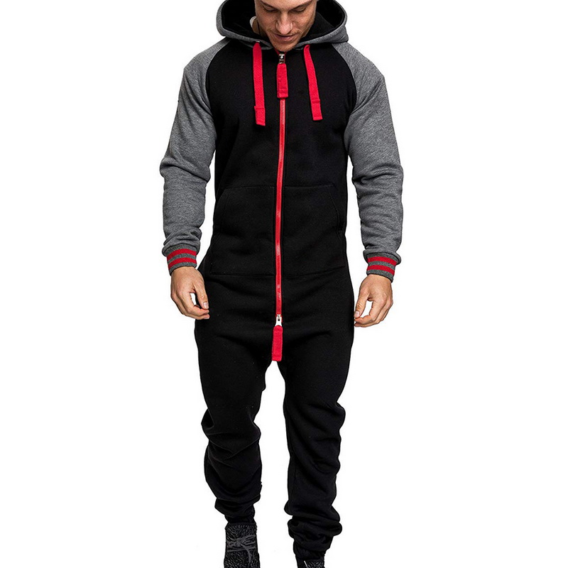 One Piece Playsuit Men's Jumpsuits Casual Tracksuit Splicing Jumpsuit Male Clothes Men Overalls Casual Hoodie Zipper Jumpsuit