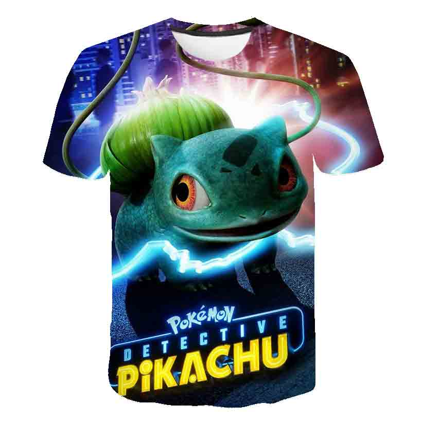 3D Boys Pokemon T-shirt Kids Surprised Pikachu Boys Clothes Japan Anime Movie Camisetas Children's Wear Tee Girl Clothes Tops