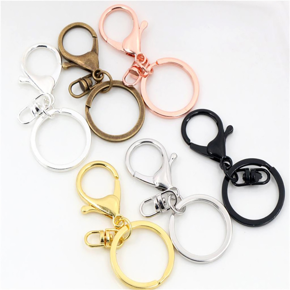5pcs/lot 30mm Key Ring Long 70mm Popular Classic 8 Colors Plated Lobster Clasp Key Hook Chain Jewelry Making For Keychain