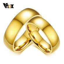 Vnox Classic Anelli di Cerimonia Nuziale per le Donne Degli Uomini 6 millimetri Tono Oro In Acciaio Inox Anelli Paio Semplice Pianura Fasce Per Regalo di Anniversario