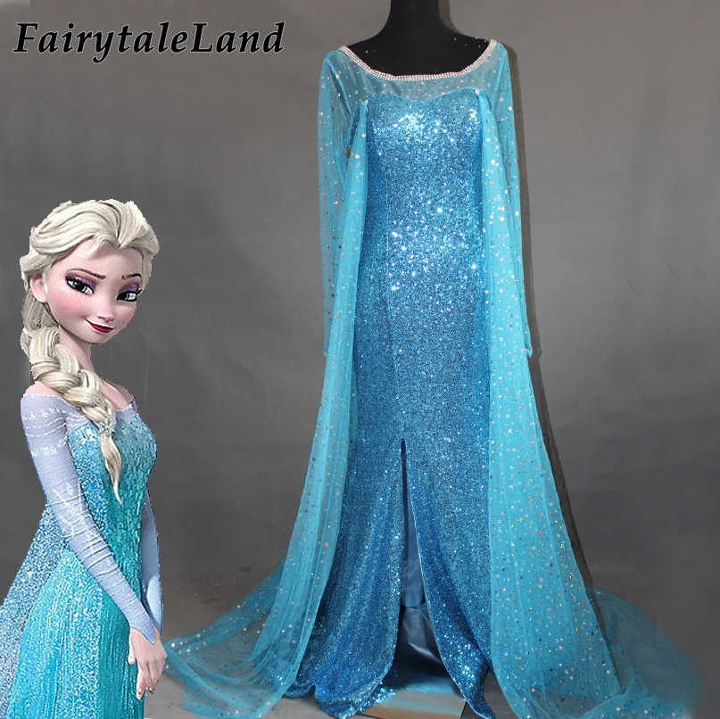 Cartoon Princess Elsa <font><b>Dress</b></font> Adult Snow Grow Princess Anna Elsa Halloween Cosplay <font><b>Costume</b></font> <font><b>Fancy</b></font> Blue <font><b>Dress</b></font> <font><b>Sexy</b></font> <font><b>Costume</b></font> image