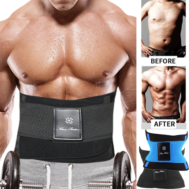 Mens Body Shaper Neoprene Abs Sauna Sweat Band Belly Slimming Belt Active Waist Trainer Trimmer with Adjustable Strap Shapewear