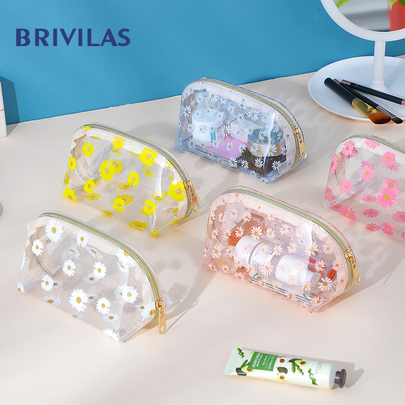 Brivilas Flowers Transparent Cosmetic Bag Women Pvc Travel Storage Make Up Bags Waterproof Portable Toiletry Bag Fashion Girl