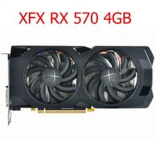 XFX RX 570 4GB grafik kartları GPU AMD Radeon RX570 4GB 256bit 2048 sp ekran kartı PC bilgisayar oyun harita PCI-E X16 kullanılan değil madencilik