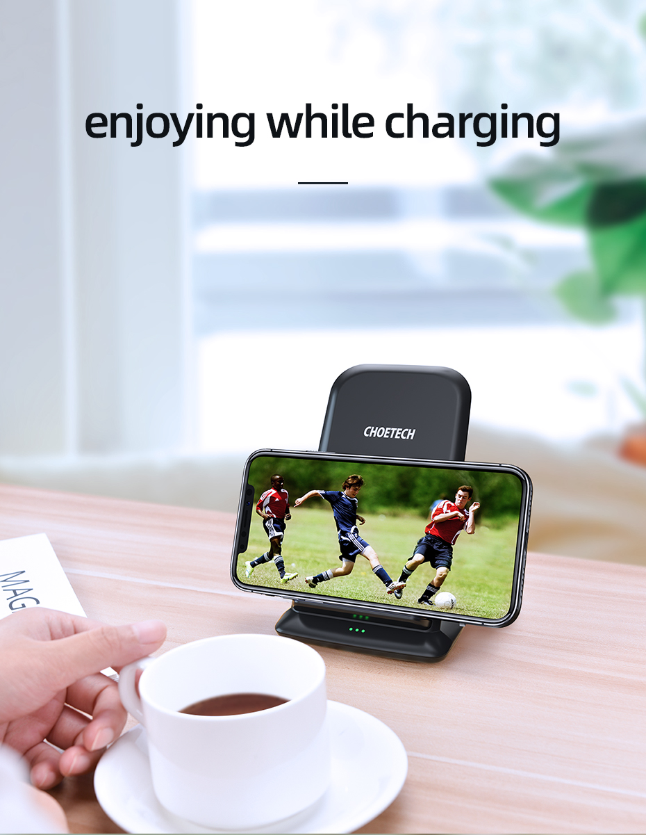 CHOETECH 15W Qi Wireless Charger Stand for iPhone 11 Pro X XS 8 Fast Wireless Charging Station for Samsung S10 S9 Phone Charger
