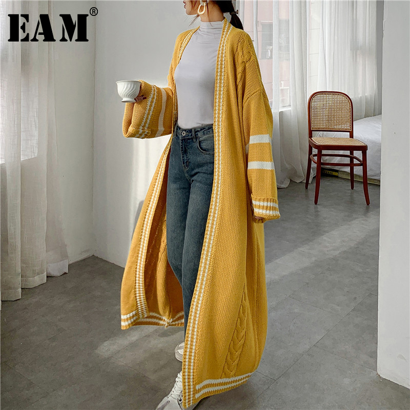[Eam] 黄色ビッグサイズニットカーディガンセータールーズフィットvネック長袖女性新ファッション潮秋冬2021 1Y164