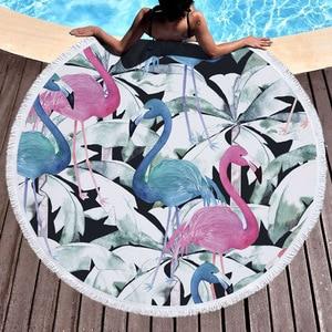 Image 3 - ビーチタオルタッセル花フラミンゴギフトお風呂シャワータオル大人のための 500 グラムマイクロファイバー 150 センチメートルピクニックヨガマット毛布カーペット