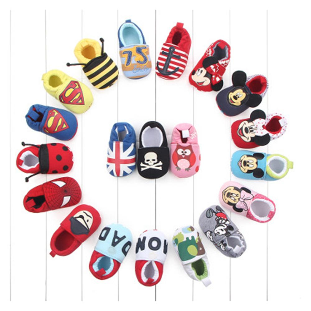 Hot Sale Romirus Autumn Baby Cotton Prewalker Soft Bottom Anti Slip Baby Shoes Infant Toddler Cartoon Mickey Mouse Shoes