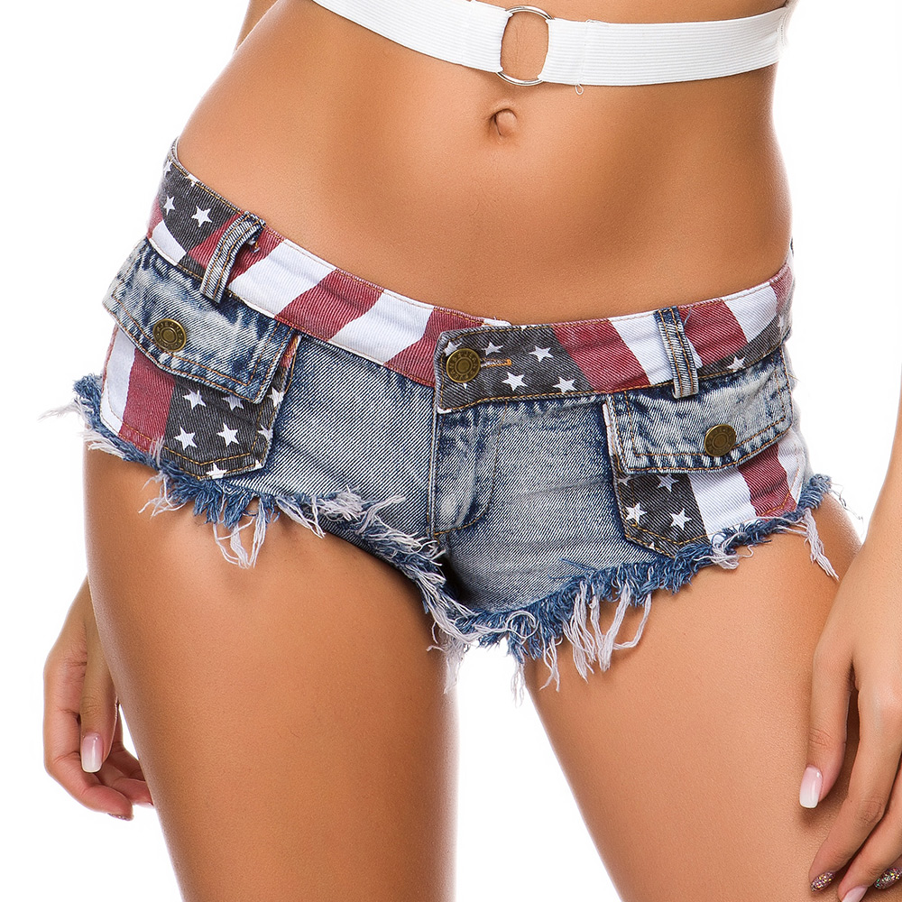 Sexy Women Denim Shorts Beach Style Flag Printing Hollow Out Low Waist Button Zipper Short Jeans With Tassel Hole Pockets