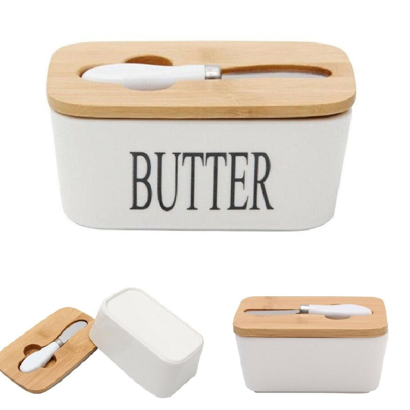 Dreamburgh Nordic Butter Box Dish With Knife Ceramic Container Cheese Food Holder Tray Dish Storage Container Box Kitchen Tools