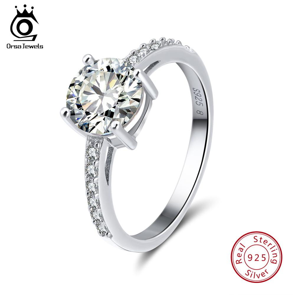 ORSA JEWELS Real 925 Sterling Silver Women Rings AAA Shiny Cubic Zircon Prong Setting Female Luxury Wedding Ring Jewelry SR56