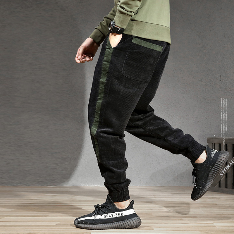Autumn Winter Fashion Men Jeans Loose Fit Stripe Designer Casual Corduroy Harem Pants Black Streetwear Hip Hop Joggers Pants Men