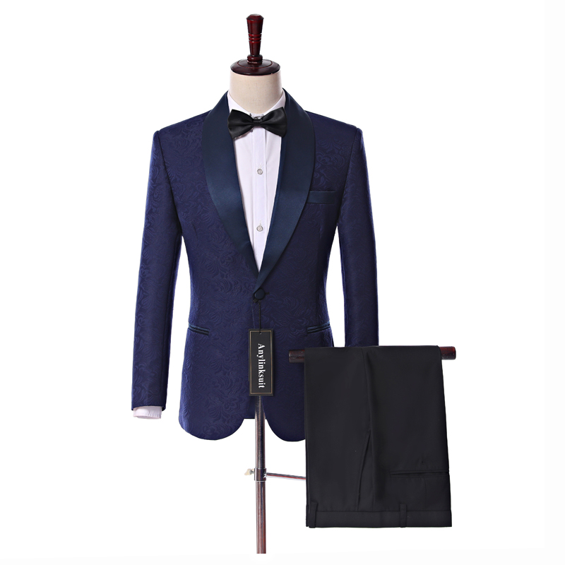 Real Photo Navy Paisley Mens Suits Groom Tuxedos Groomsmen Wedding Party Dinner Best Man Suits (Jacket+Pants+Bow Tie) W:60